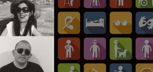 Quadrado dividido em duas partes desiguais por uma linha vertical. A parte da esquerda, maior, é fundo preto e váaaarios quadradinhos coloridos com as bordas arredondadas, cada um com um símbolo ou desenho (pictograma) representando algum tipo de deficiência. Essa parte maior foi dividida em duas por uma linha horizontal; a parte de cima é essa coleção de pictogramas, e a barra que ficou embaixo tem o número e o nome do episódio em letras pretas sobre fundo vermelho. A parte direita, menor, foi dividida em três quadrados iguais. No superior, logo do Pistolando preto sobre fundo vermelho. No do meio, uma foto da Marina, mulher branca, de cabelos escuros, longos e lisos, de óculos escuros, sorrindo para a câmera, costas e cabeça apoiadas no espaldar da sua cadeira de rodas. Atrás dela, lá no fundo, um pedaço de mar e alguns prédios. No de baixo, uma foto do Sid, homem branco, de cabeça raspada, óculos escuros, sério, usando camiseta preta com estampa na frente, em pé contra uma parede branca. Ambas as fotos estão em preto e branco.
